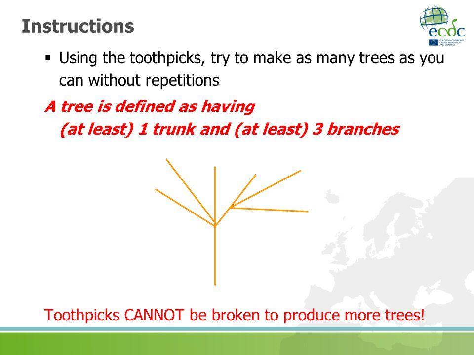 Instructions Using the toothpicks, try to make as many trees as you can without repetitions.
