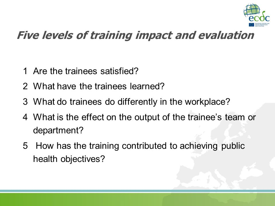 Five levels of training impact and evaluation