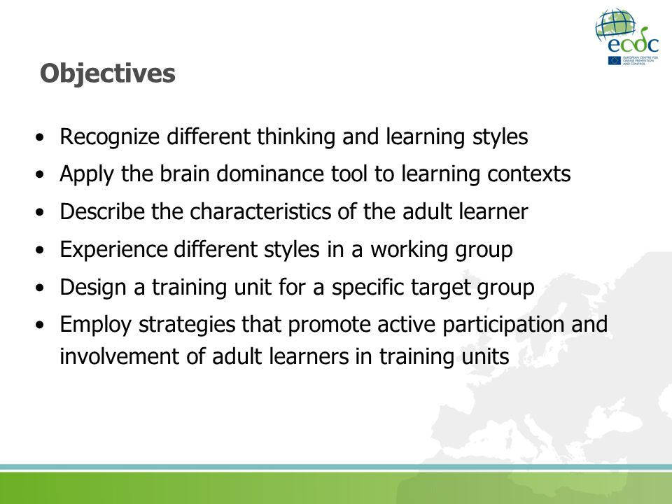 Objectives Recognize different thinking and learning styles