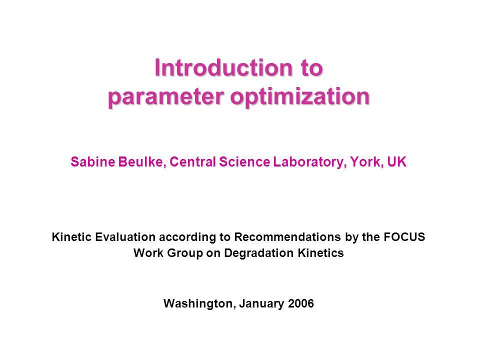Introduction to parameter optimization