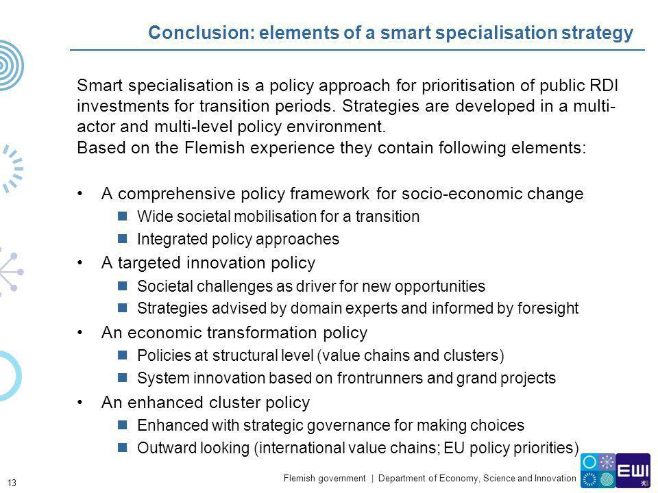 Conclusion: elements of a smart specialisation strategy