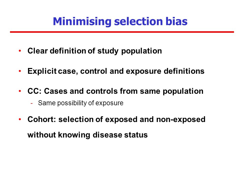 Minimising selection bias