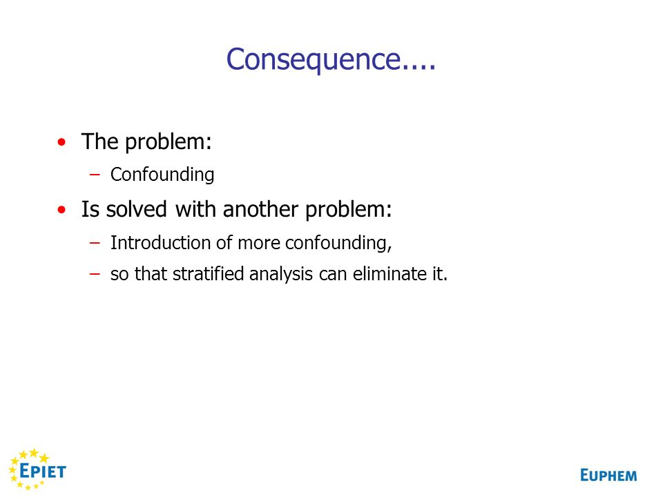 Consequence.... The problem: Is solved with another problem: