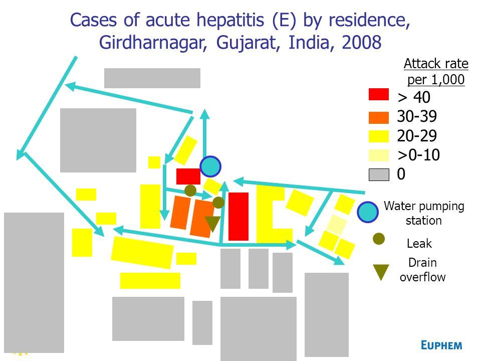 Cases of acute hepatitis (E) by residence, Girdharnagar, Gujarat, India, 2008