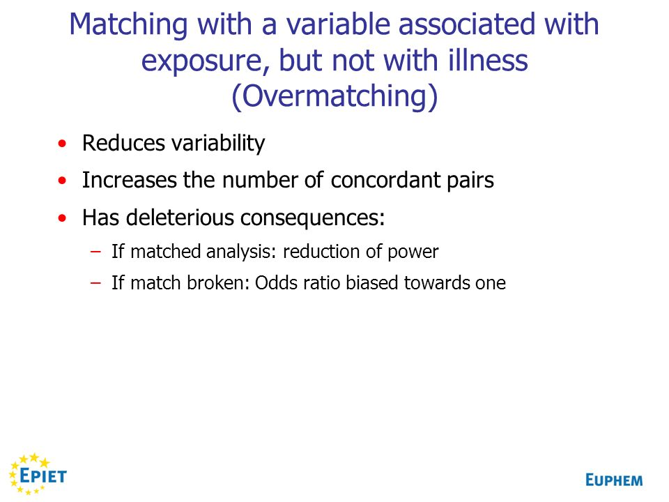 Matching with a variable associated with exposure, but not with illness (Overmatching)