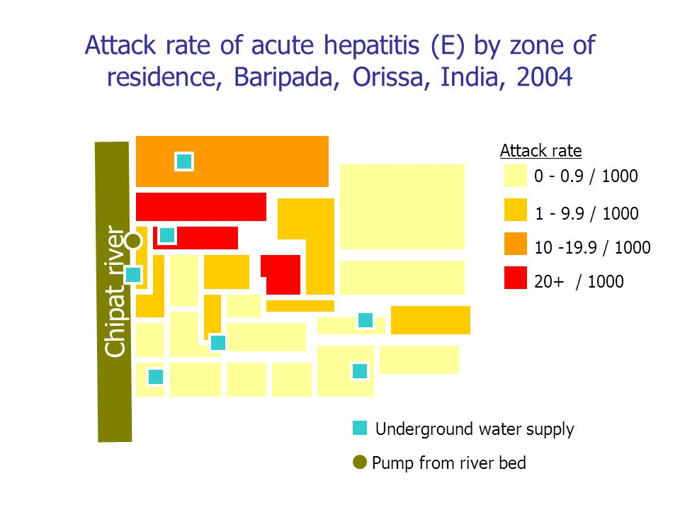 Attack rate of acute hepatitis (E) by zone of residence, Baripada, Orissa, India, 2004