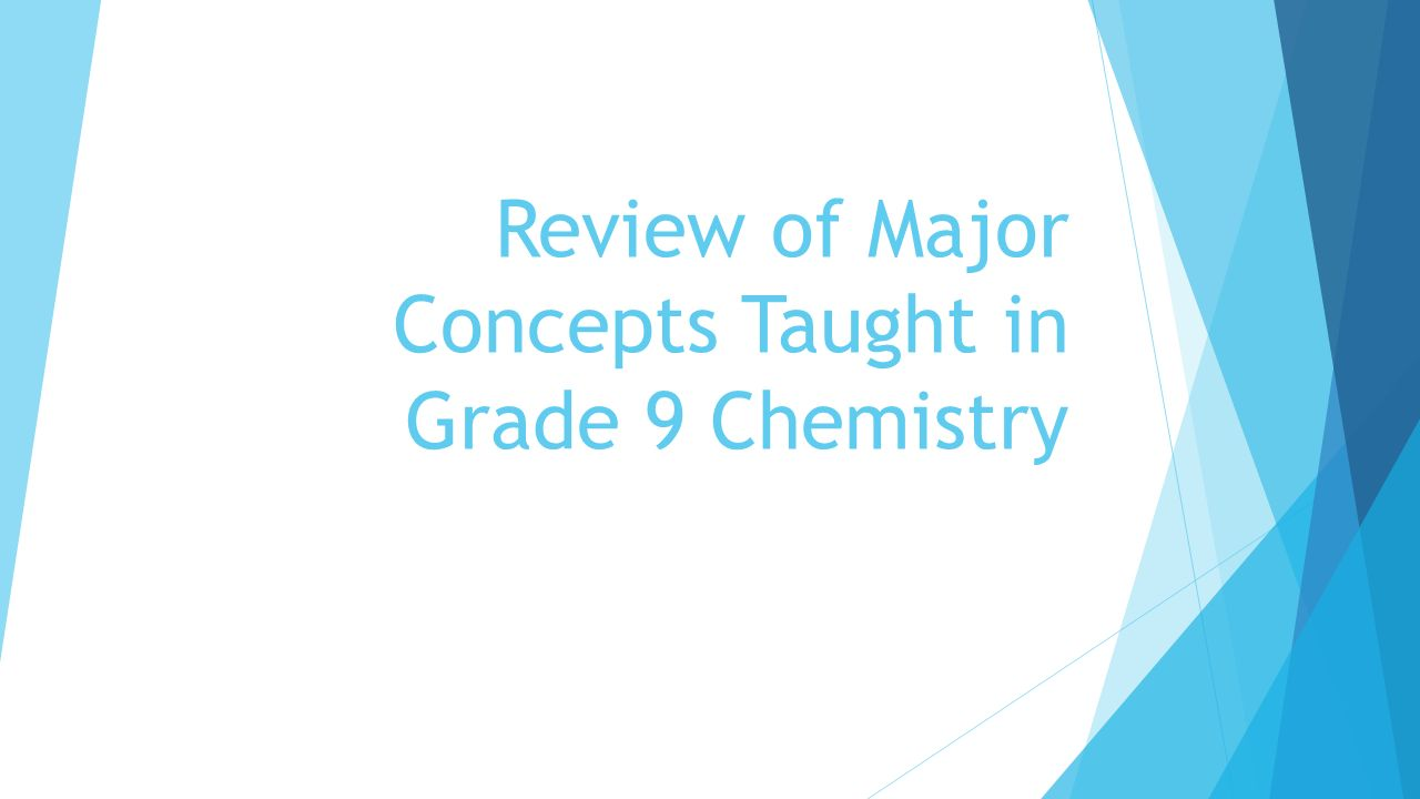 Review of Major Concepts Taught in Grade 9 Chemistry