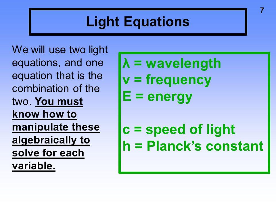 speed of light equation chemistry. e \u003d energy c speed of light. 8 light equations equation chemistry