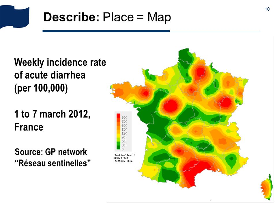 Describe: Place = Map Weekly incidence rate of acute diarrhea