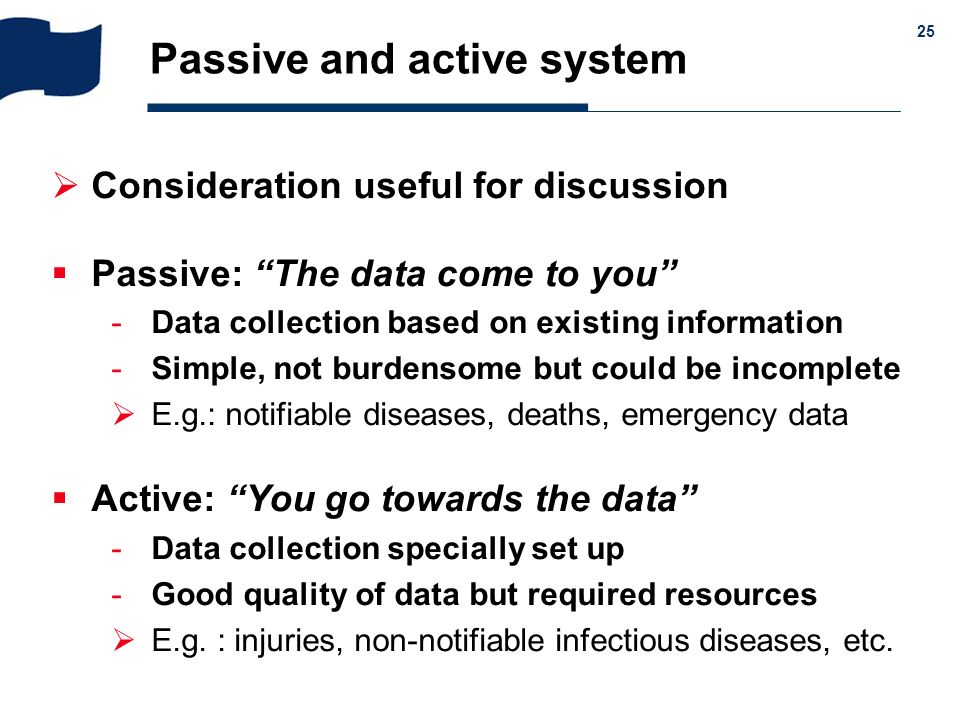 Passive and active system