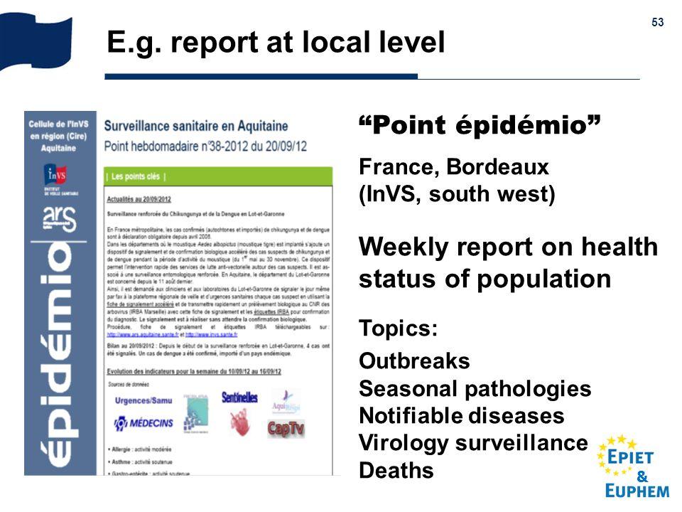 E.g. report at local level