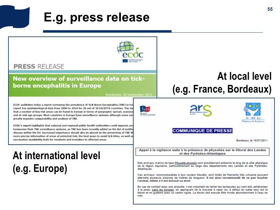 E.g. press release At local level (e.g. France, Bordeaux)