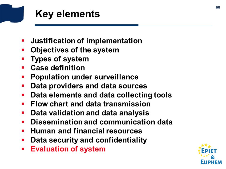 Key elements Justification of implementation Objectives of the system