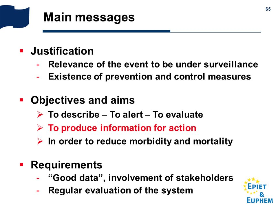Main messages Justification Objectives and aims Requirements