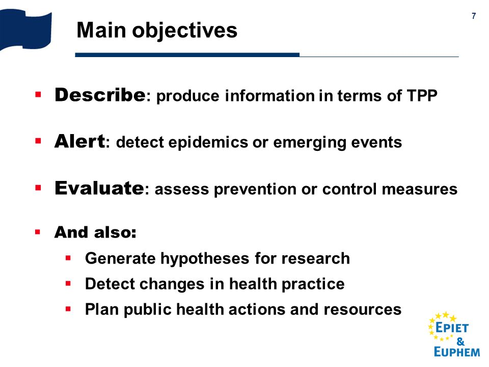 Main objectives Describe: produce information in terms of TPP