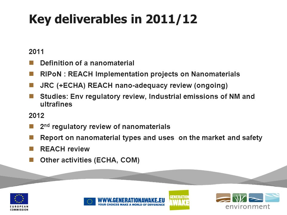 Key deliverables in 2011/12 2011 Definition of a nanomaterial