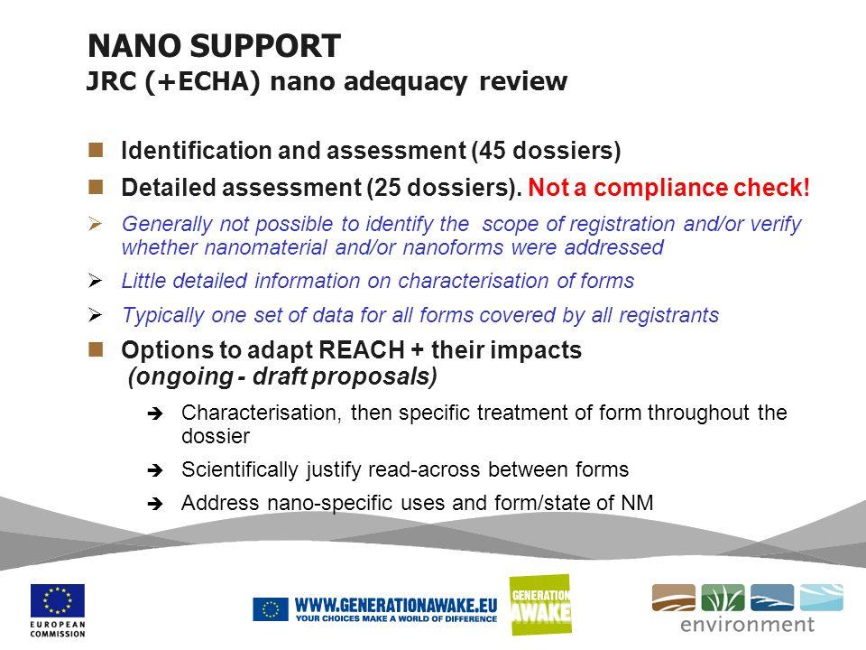 NANO SUPPORT JRC (+ECHA) nano adequacy review
