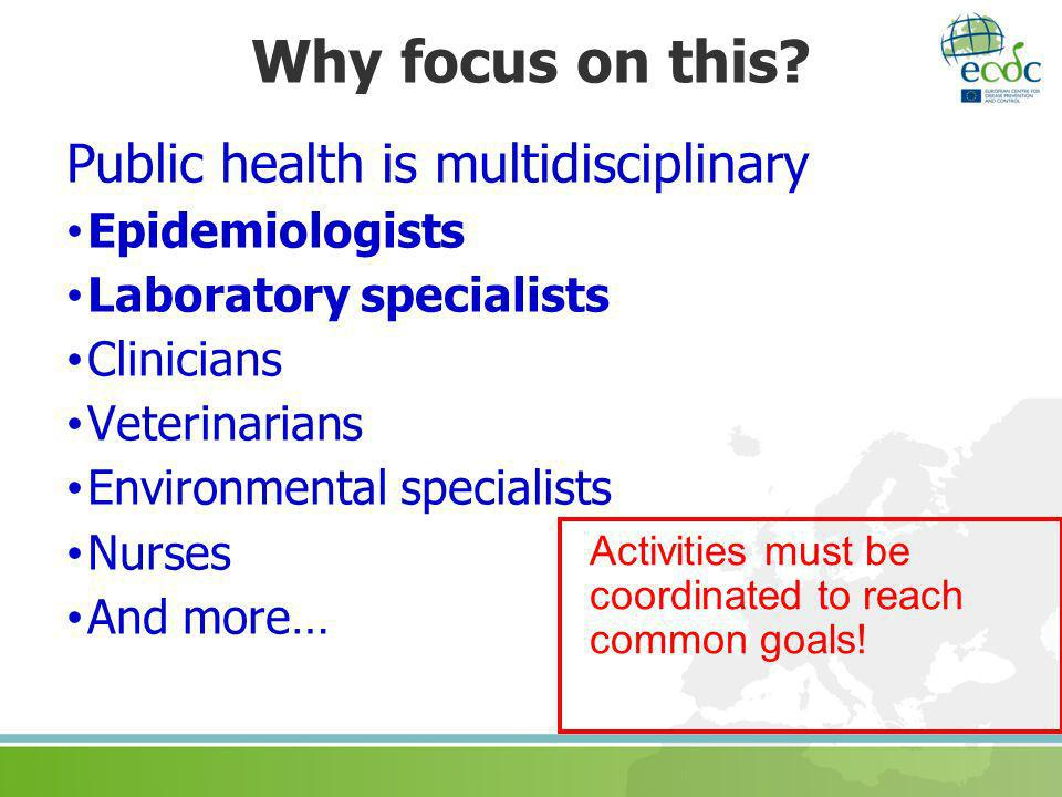 Why focus on this Public health is multidisciplinary Epidemiologists