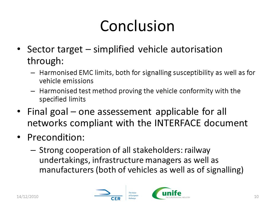 Conclusion Sector target – simplified vehicle autorisation through: