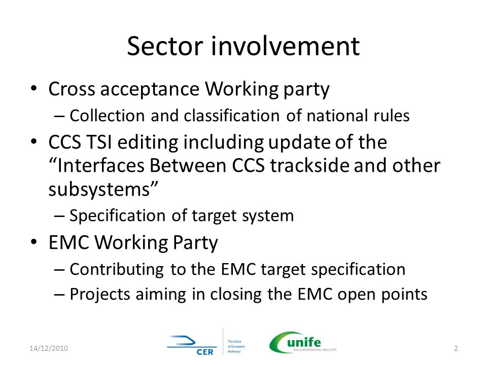 Sector involvement Cross acceptance Working party