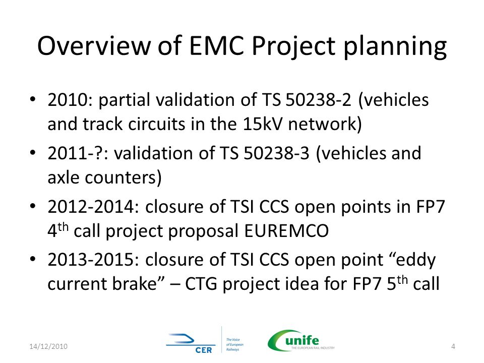 Overview of EMC Project planning