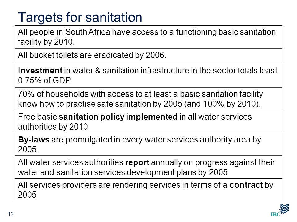 Targets for sanitation