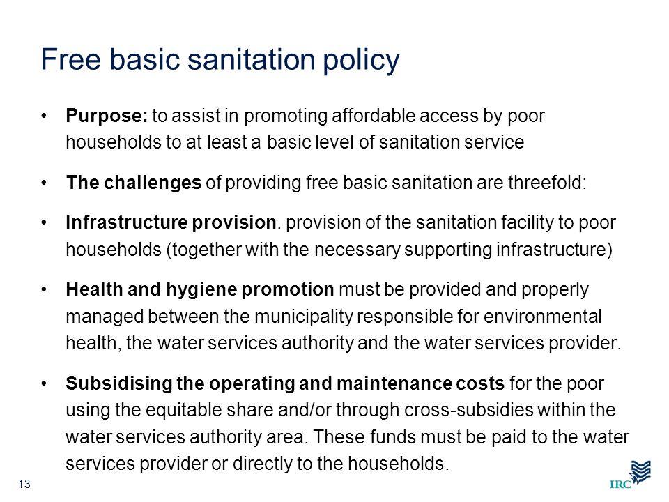 Free basic sanitation policy