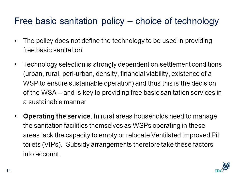 Free basic sanitation policy – choice of technology