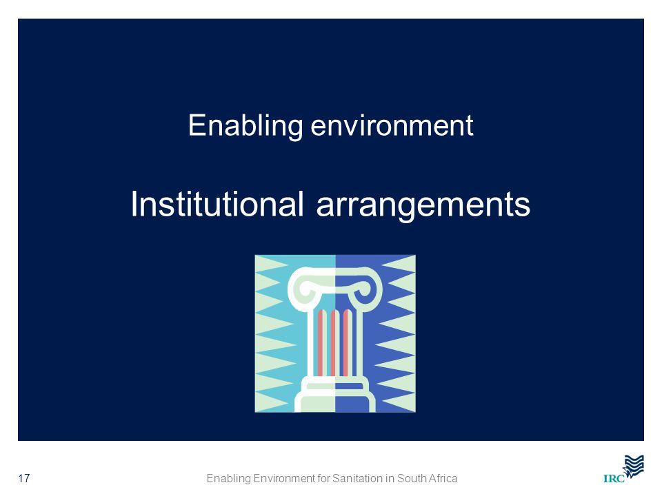 Enabling environment Institutional arrangements