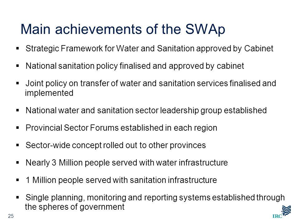 Main achievements of the SWAp