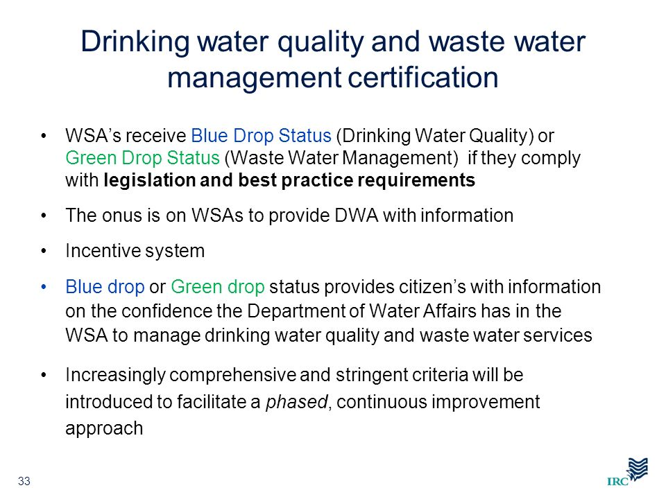 Drinking water quality and waste water management certification