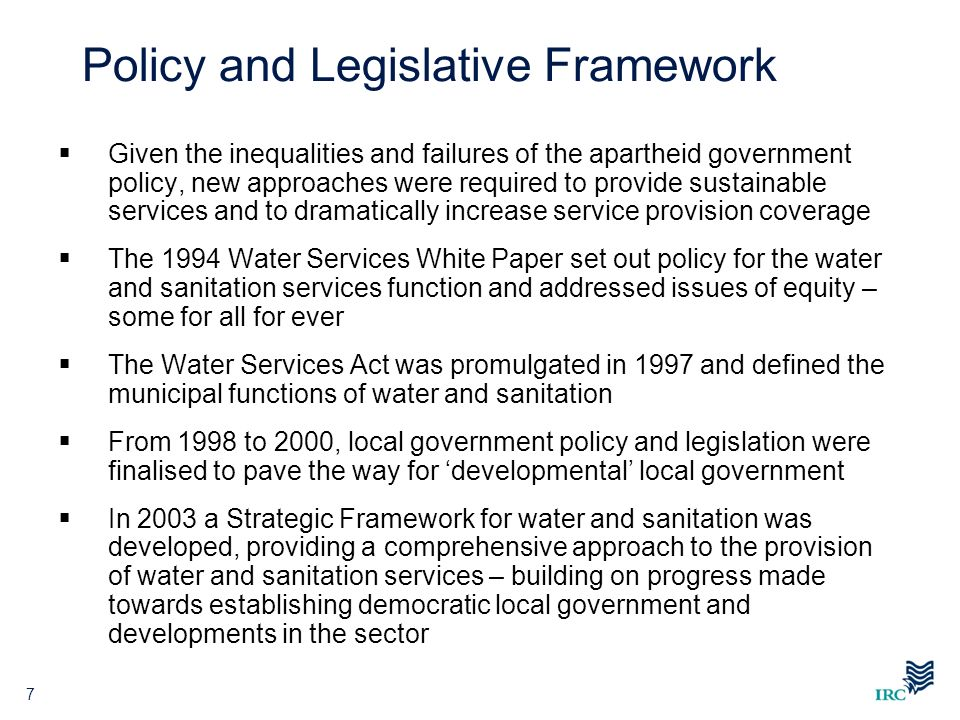 Policy and Legislative Framework