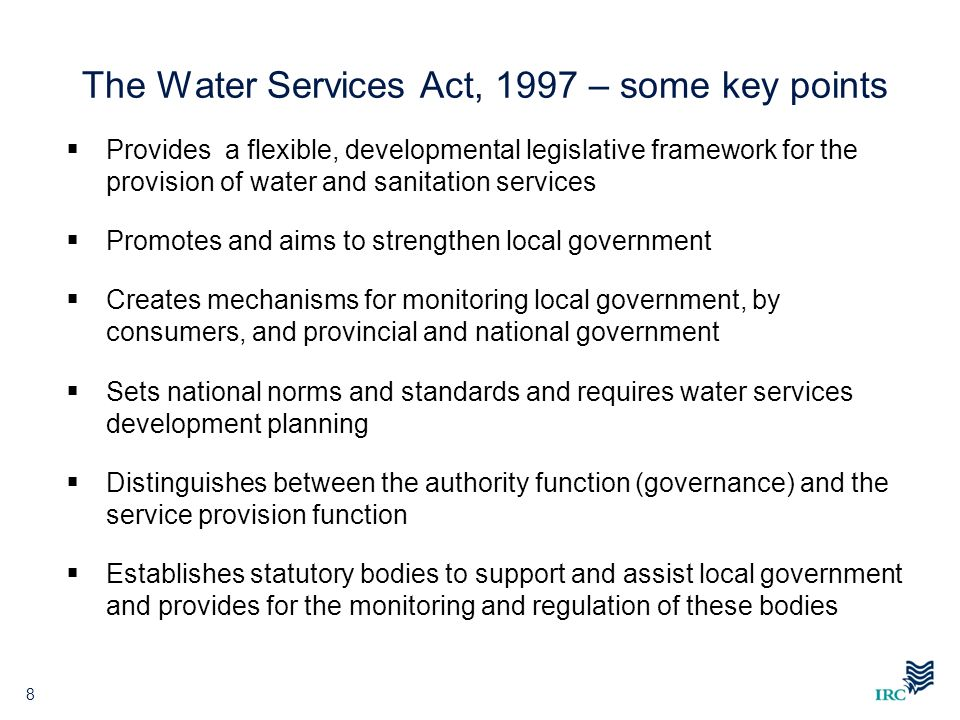 The Water Services Act, 1997 – some key points