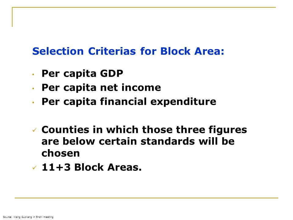 Selection Criterias for Block Area: