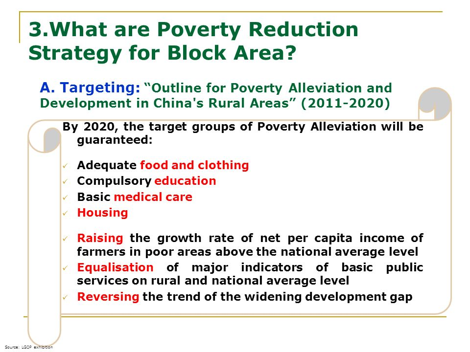 3.What are Poverty Reduction Strategy for Block Area
