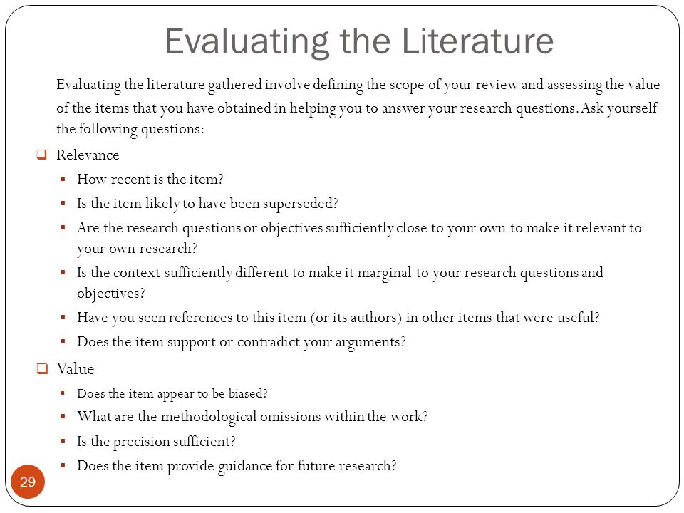 relevance of literature review in research work