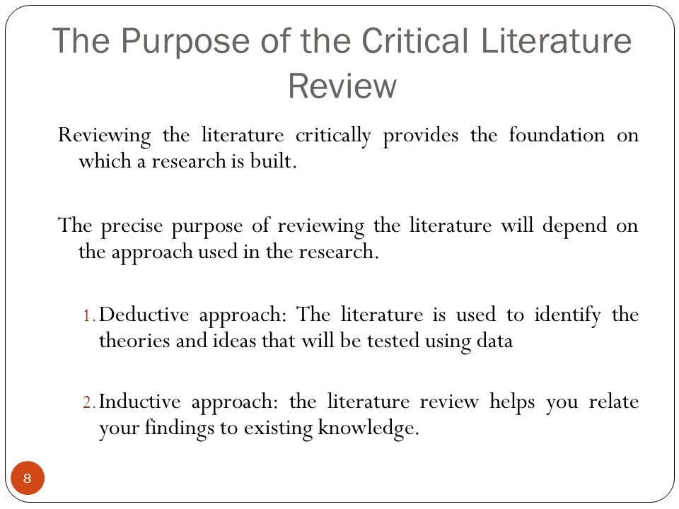 purpose of literature reviews in research Literature reviews: an overview for graduate students what is a literature review what purpose does it serve in research what should you expect when writing one.