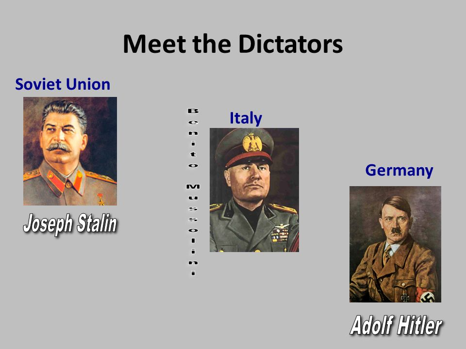 benito mussolini adolf hitler and joseph stalin From left to right: adolf hitler, joseph stalin and benito mussolini, who were thought of at the time as the most powerful leaders.