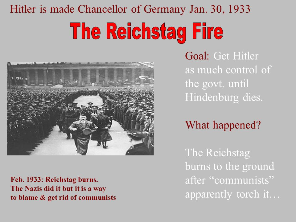 an analysis of the reichstag fire and hitlers rise to power Timeline of hitler's rise to power 1930 - 1933: rise in support of hitler in germany and the nazi party the german people look for someone to guide them through their economic depression.