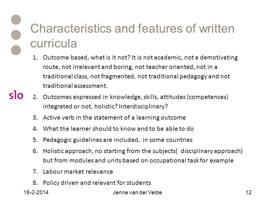 Characteristics and features of written curricula