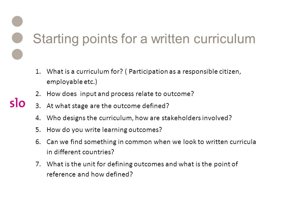 Starting points for a written curriculum