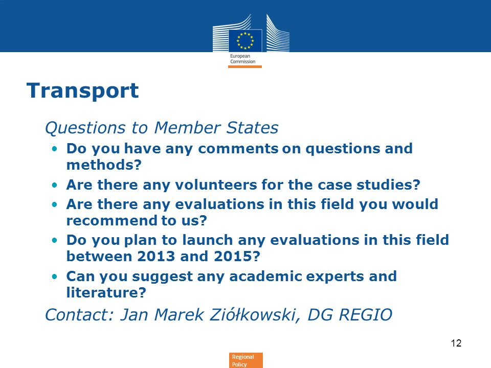 Transport Questions to Member States