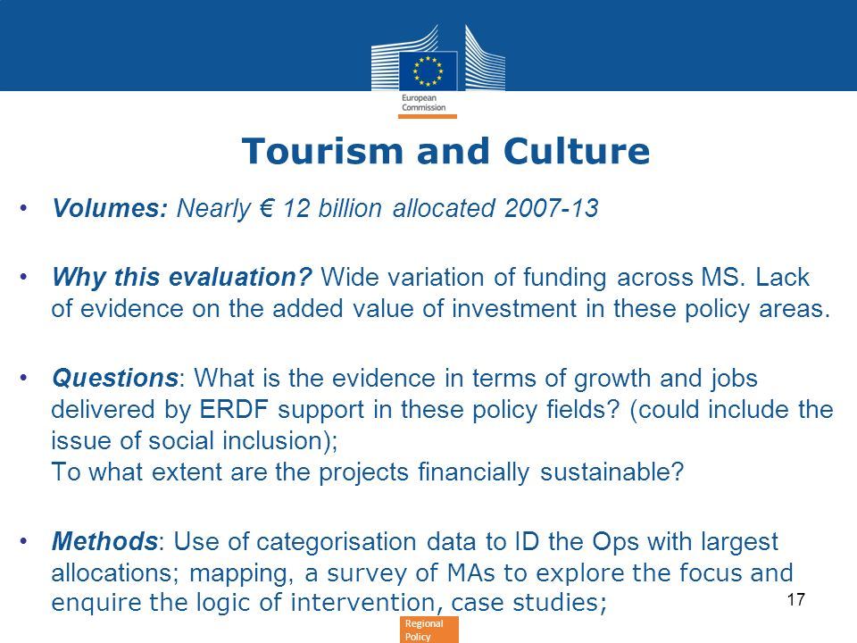Tourism and Culture Volumes: Nearly € 12 billion allocated 2007-13