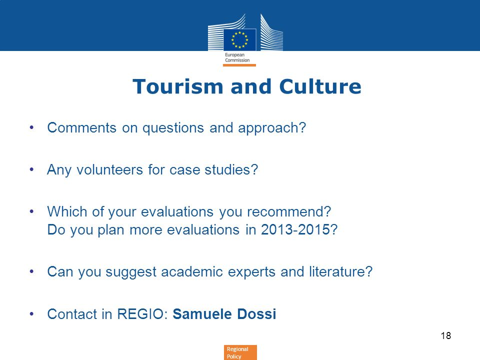 Tourism and Culture Comments on questions and approach