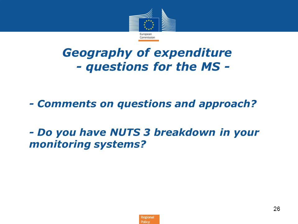 Geography of expenditure - questions for the MS -