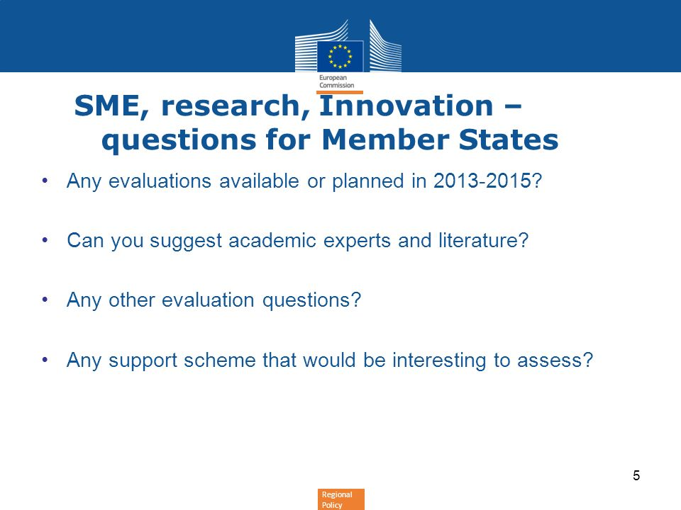 SME, research, Innovation – questions for Member States
