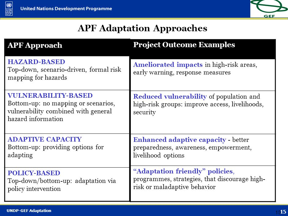 APF Adaptation Approaches