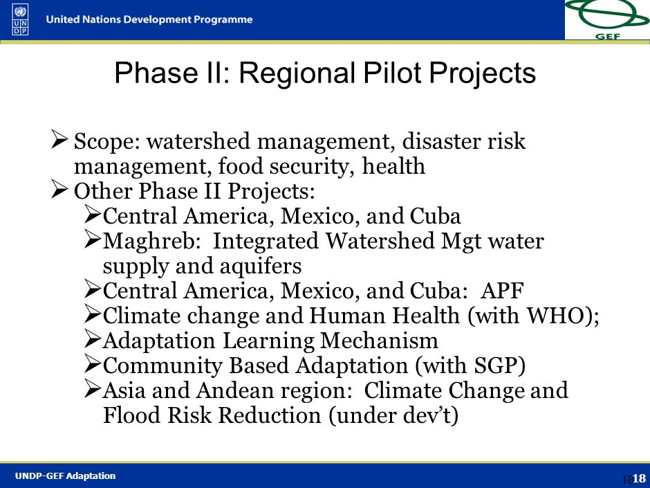 Phase II: Regional Pilot Projects