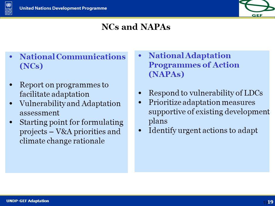 NCs and NAPAs National Adaptation Programmes of Action (NAPAs)