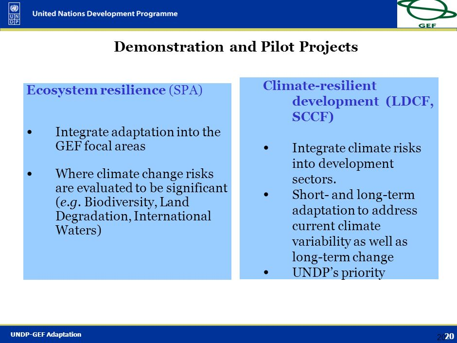 Demonstration and Pilot Projects